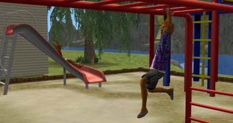 Jared and Tommy Urban playing in their playground on a summer morning.png