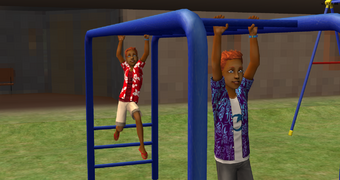 Jared and Tommy on the monkey bars at SimVille Beach.png