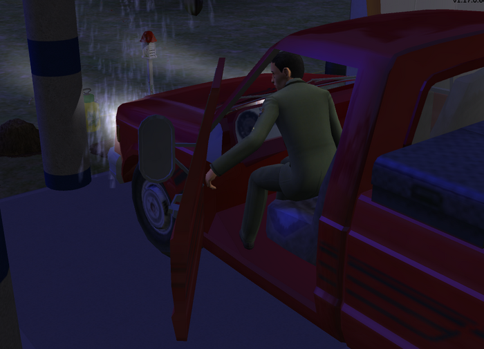 Serge getting into pickup truck.png