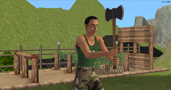 Serge Barb throwing axes at Sweat N Sweat Glory.png
