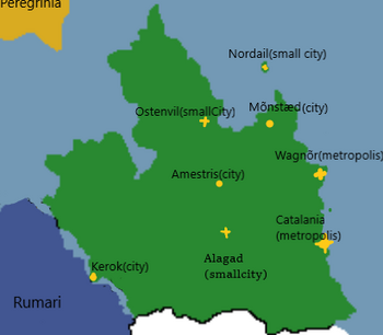 Zeiberland is located on an island in south-west Yasteria