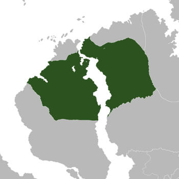 Location of Vaklori (dark green) on the continent of Gondwana (grey)