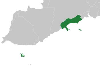 Location of Valerica (dark green)
