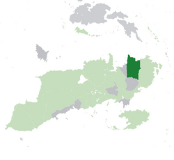 Location of Oscrelia (dark green) – in Aurora (light green and dark gray) – in the United Nations of the Auroran Continent (light green)