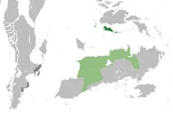 Justelvard (dark green), Great Morstaybishlia (light green), territories (dark grey)