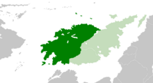 Volkian Federative Republic (dark green) -in Itur (green)