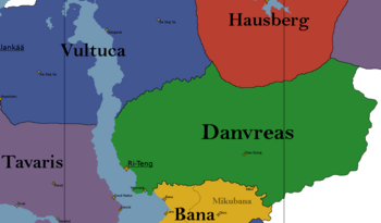 A map showing the location of the Danvreas (green).