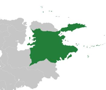Location of Asendavia (dark green)