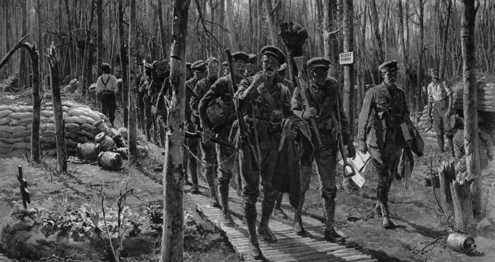 "Relief party advancing along ""Regent Street"" in Ploegsteert Wood near Ypres (slider).jpg"