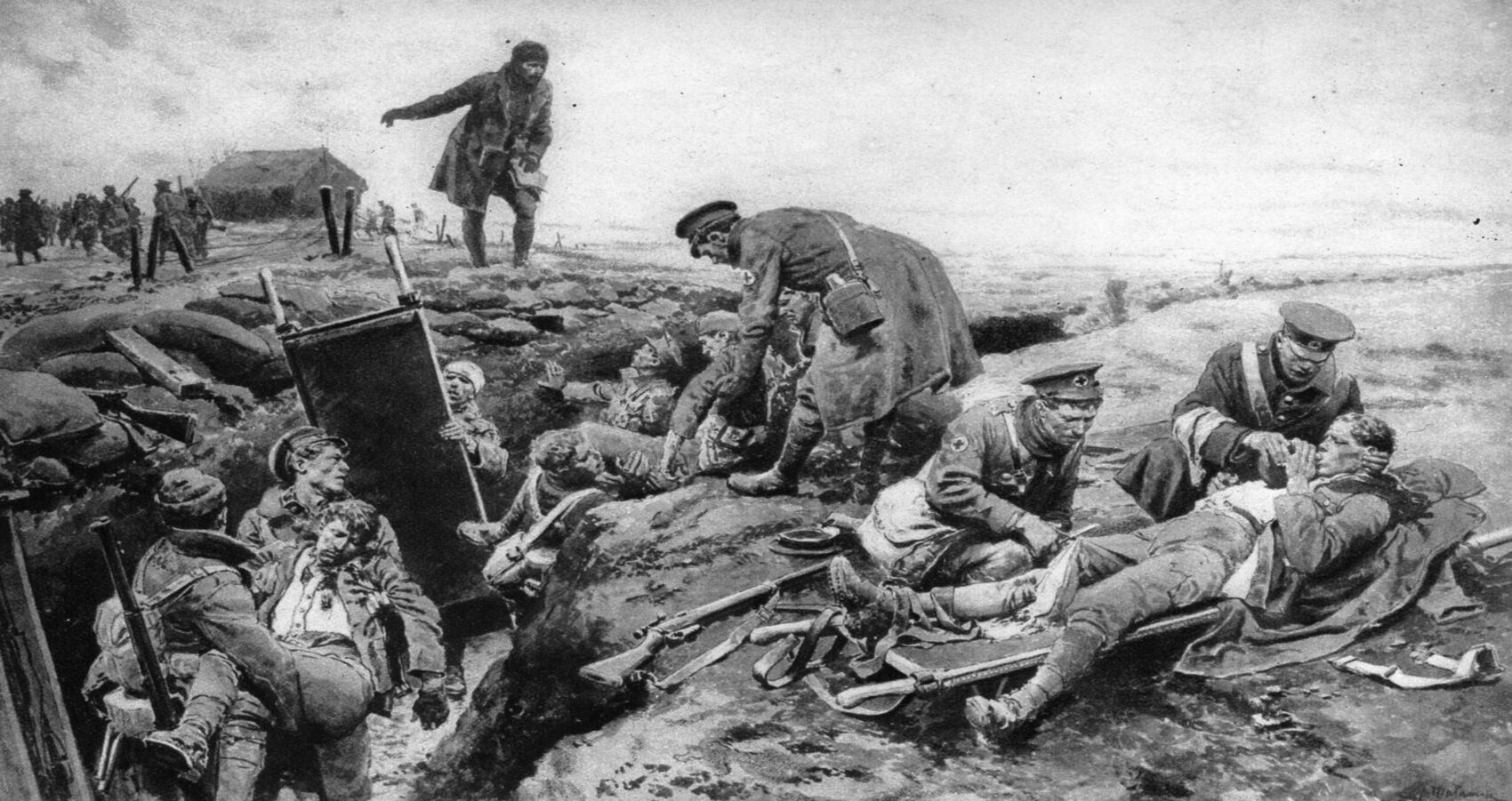 RAMC orderlies giving first aid to the wounded after successful advance (slider).jpg