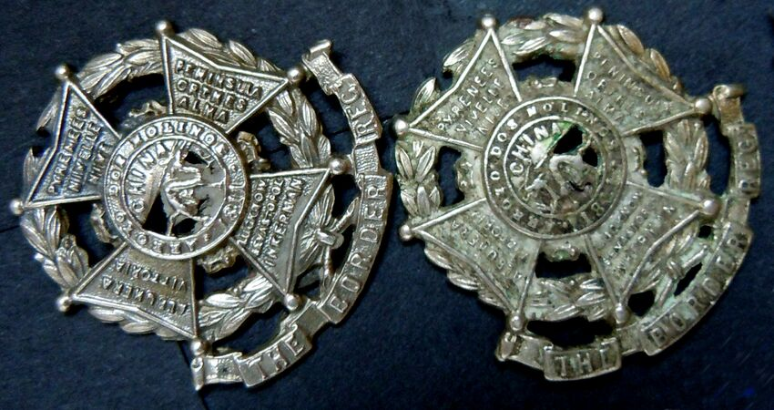 Victorian Border Regiment Collar Badges with 11 Battle Honours.jpg
