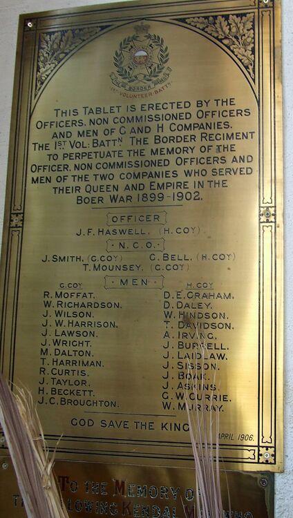 1st Volunteer Battalion Boer War Memorial Plaque in Kendal.jpg