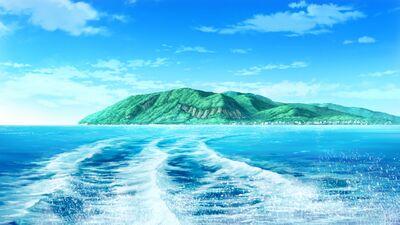 The island of Rokkenjima as seen from the ocean